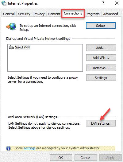 Propiedades de Internet Conexiones Configuración de LAN