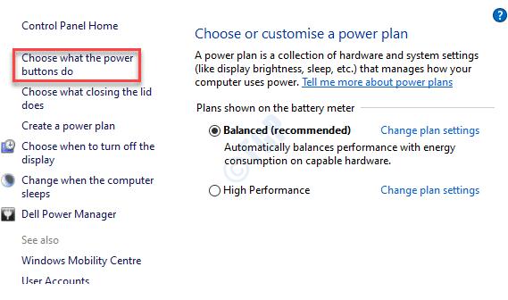 Opciones de energía Elija lo que hacen los botones de encendido