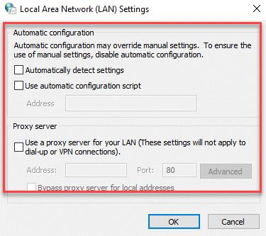 Configuración de LAN Compruebe si todas las casillas están sin marcar Ok