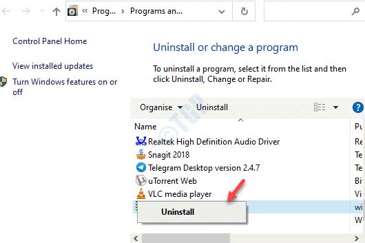 Programas y características Desinstalar o cambiar un programa Busque la aplicación Wacom Haga clic con el botón derecho en Desinstalar