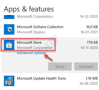Aplicaciones y características Opciones avanzadas de Microsoft Store
