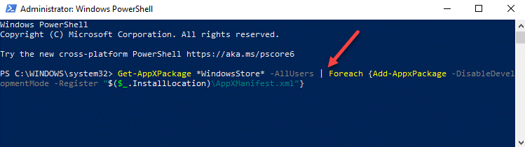 Windows Powershell (admin) Ejecutar comando para reinstalar Microsoft Store Ingresar