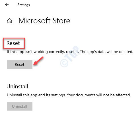 Restablecimiento de opciones avanzadas de Microsoft Store