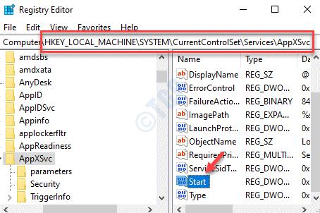 Editor del registro Navegue a la ruta Appxsvc Inicio Haga doble clic