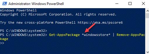 Windows Powershell (admin) Ejecutar comando para eliminar la Tienda Windows Ingresar