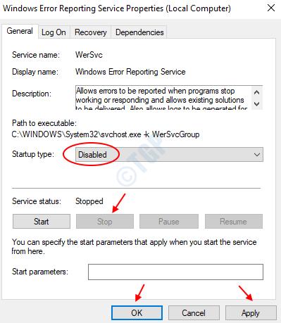 Detener el servicio de informe de errores de Windows