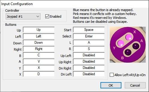 Configuración de control de teclado snes9x