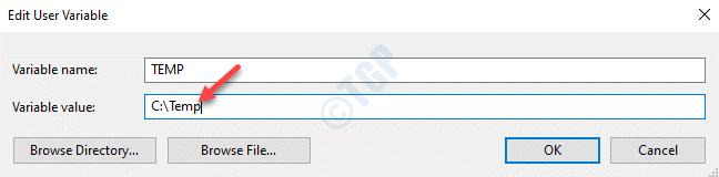 Editar la temperatura de la variable de usuario Cambiar el valor de la variable Ok