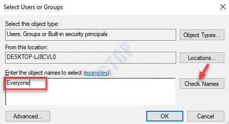 Seleccionar usuarios o grupos Introduzca el nombre del objeto para seleccionar a todos Compruebe los nombres