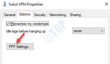 Vpn Prorperties Opciones Configuración de PPP