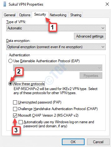 Propiedades de VPN Seguridad Permitir estos protocolos Microsoft Chap Versión 2 (ms Chap V2) Ok