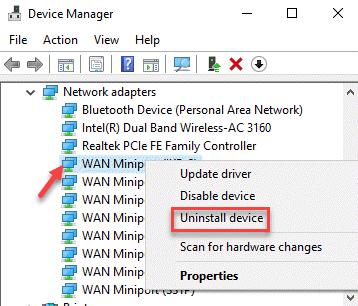 Administrador de dispositivos Adaptadores de red Adaptador Vpn Haga clic con el botón derecho en Desinstalar dispositivo