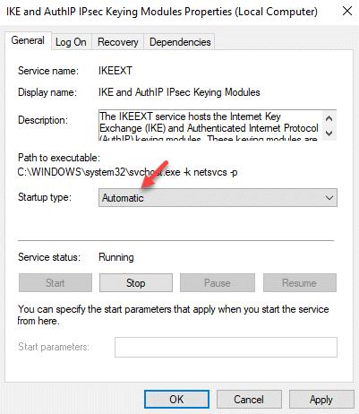 Propiedades General Tipo de inicio Automático Aplicar Ok