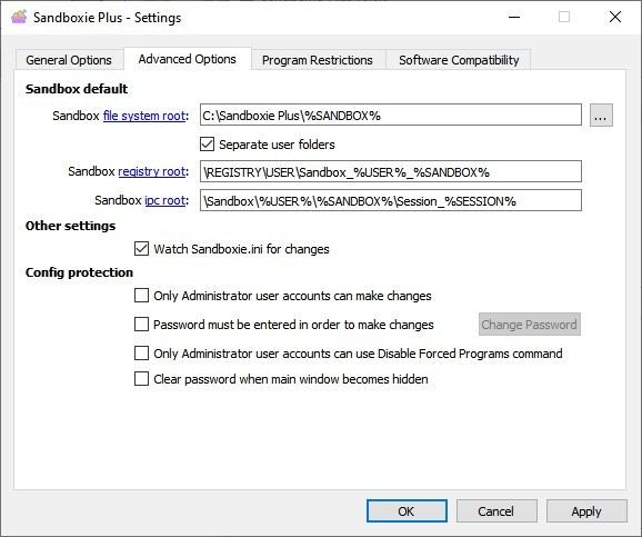 Configuración global de Sandboxie Plus
