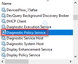 Servicio de política de Diagonstics Min