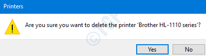 Cuadro de diálogo de confirmación de impresoras