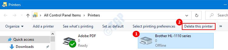 Eliminar impresoras de la carpeta Impresoras