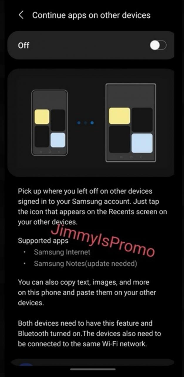 Continuar aplicaciones en otros dispositivos permite a los usuarios comenzar a usar una aplicación en un modelo Galaxy S21 y continuar usándola justo donde lo dejó en otro dispositivo. Leak revela algunas características interesantes que vienen a la serie Samsung Galaxy S21