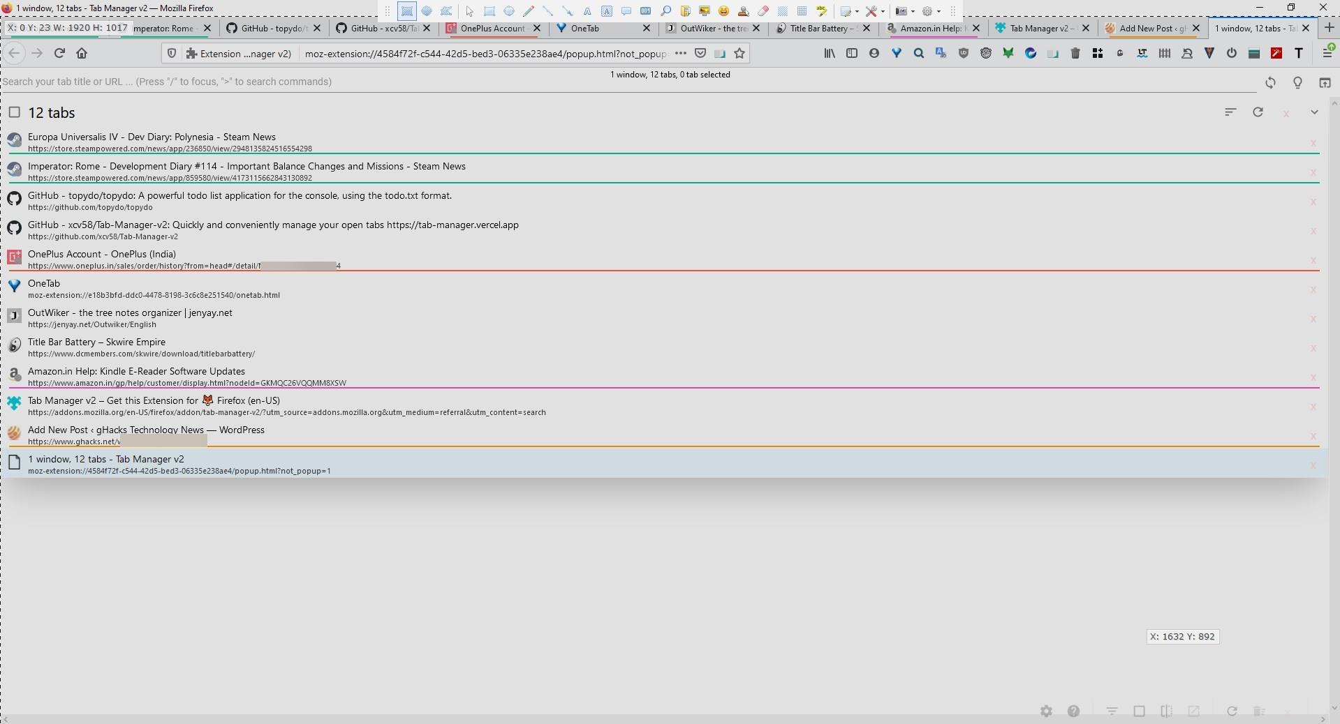 Busque y administre pestañas desde múltiples ventanas con facilidad usando Tab Manager V2 para Firefox y Chrome