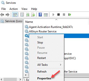 Servicios Nombre Servicio Haga clic con el botón derecho en Propiedades