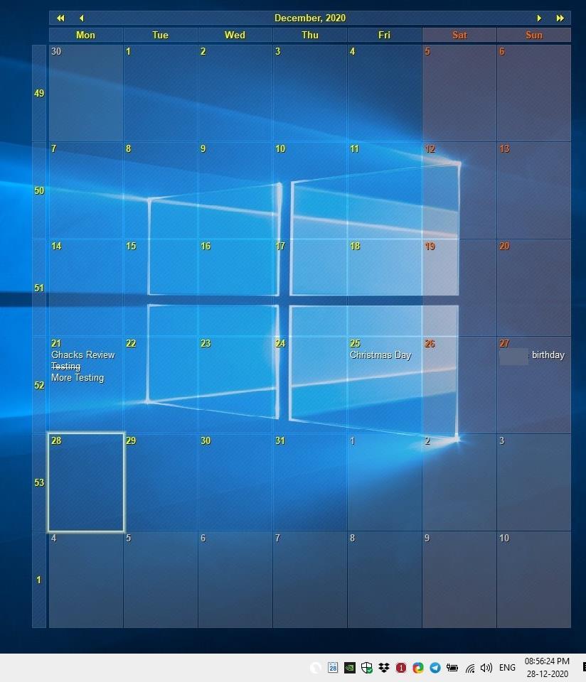 Interactive Calendar places a transparent calendar on your desktop wallpaper