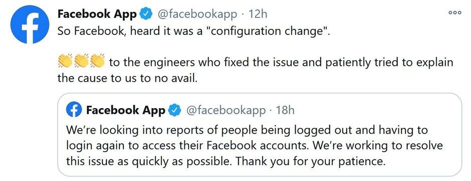 La cuenta de Twitter de la aplicación de Facebook responde a un error que desconectó a los usuarios de iPhone de la aplicación - Facebook expulsó a los usuarios de Apple iPhone de sus cuentas el viernes