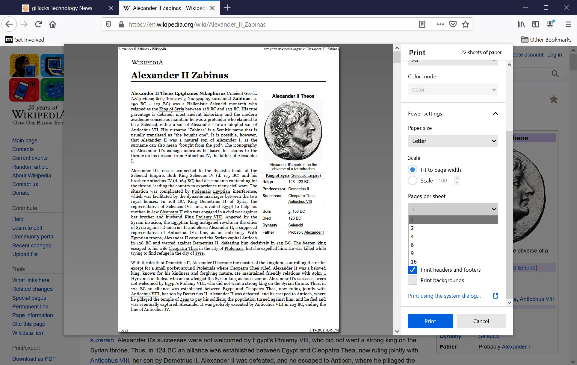 Firefox-imprime varias páginas por hoja