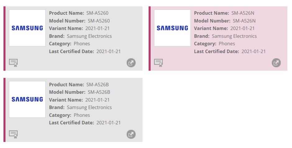 Samsung Galaxy A52 5G detectado en el sitio web de Wi-Fi Alliance
