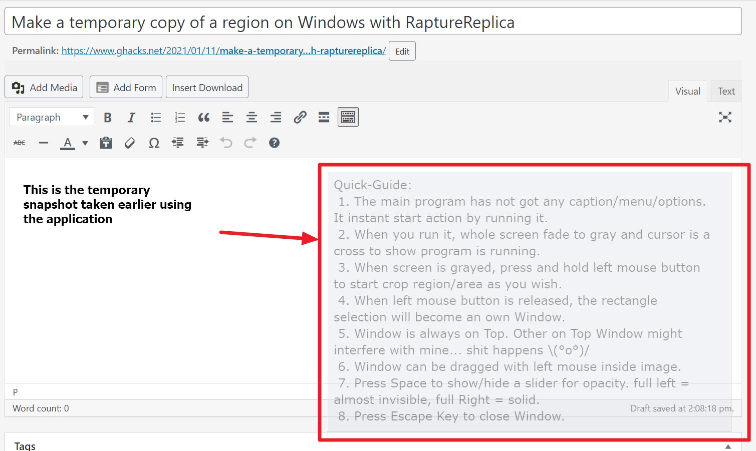 copy region temporary