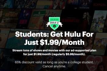 Hulu lanza un plan mensual económico de $ 2 para estudiantes