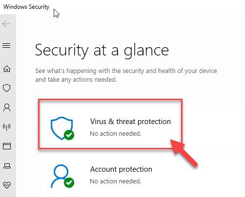 Protección contra virus y amenazas mín.