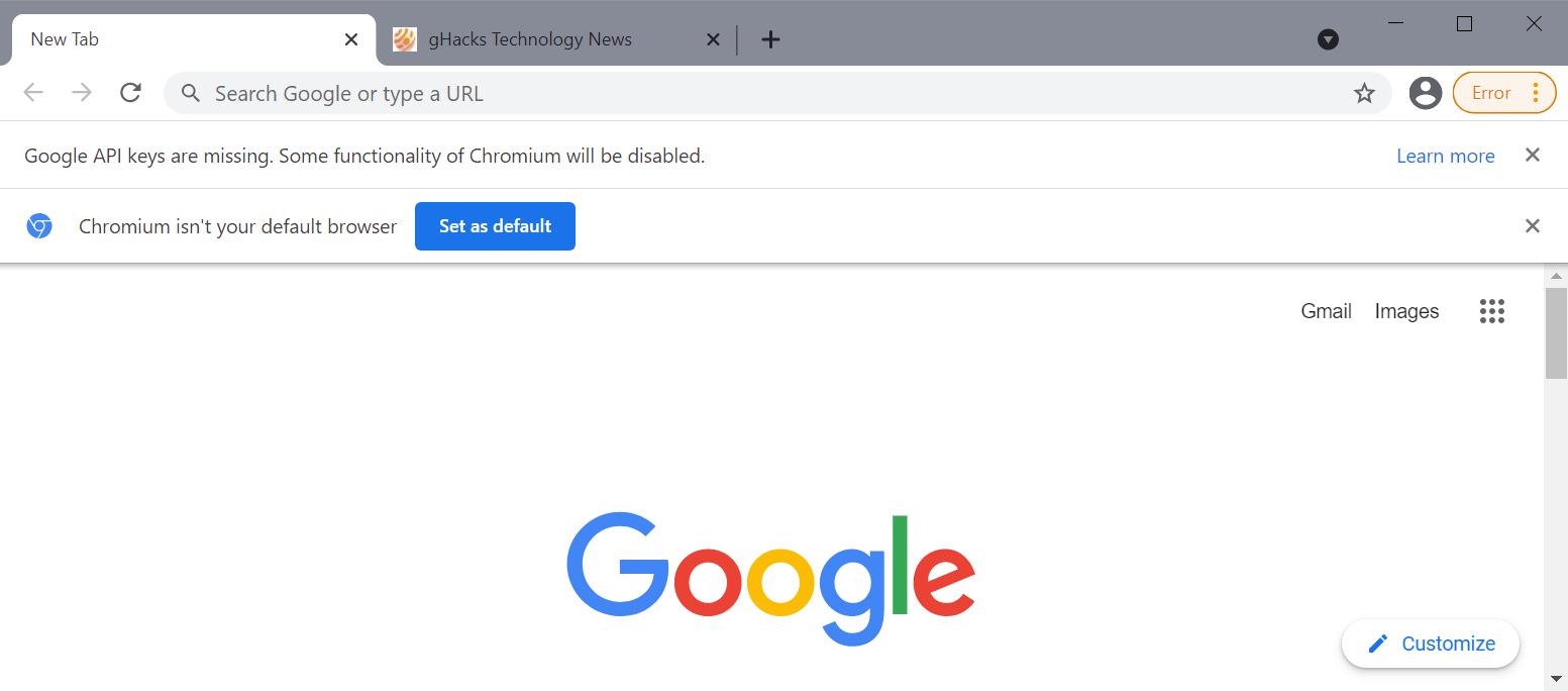chromium google api keys missing