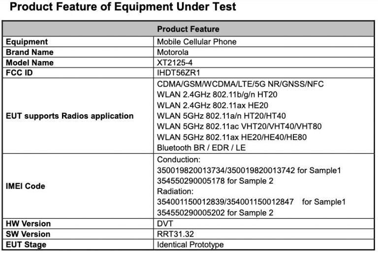 Certificaciones FCC de Motorola Nio 5G