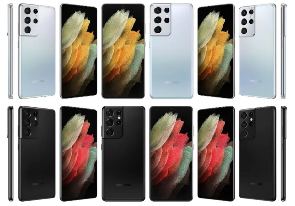 La fila superior muestra versiones del Galaxy S21 Ultra en Phantom Silver. La fila inferior muestra renders en Phantom Black - Los renders revelan una supuesta nueva opción de color para el Samsung Galaxy S21 Ultra 5G