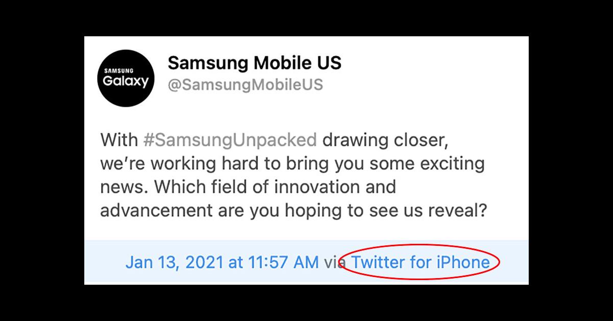 Samsung se burla del Galaxy S21 al tuitear desde un iPhone