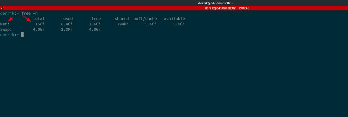 linux comprobar el tamaño de la RAM