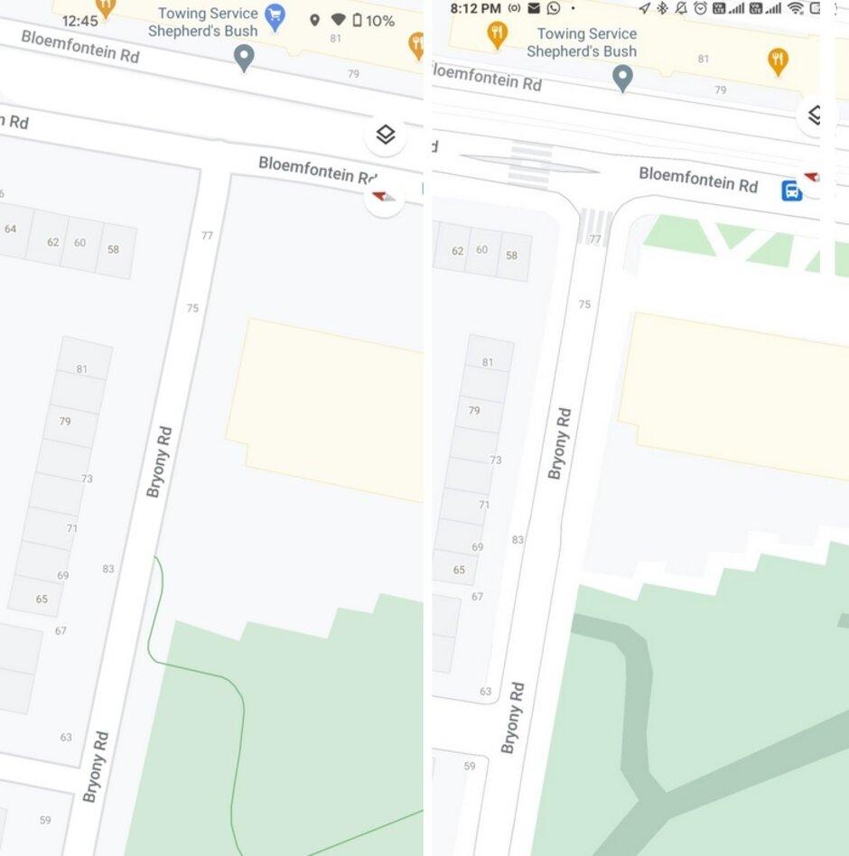 Londres en Google Maps; a la izquierda está la vista antes de la actualización, a la derecha se actualiza el nivel de la calle: la actualización de Google Maps hace que sea más fácil caminar por Nueva York y otras tres ciudades importantes