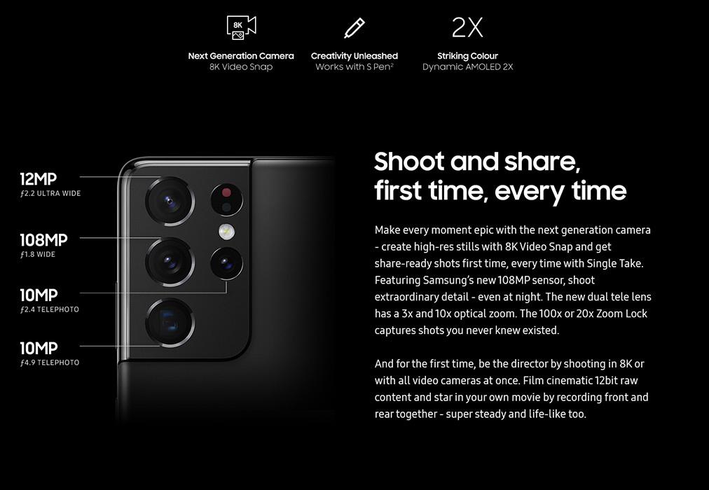 Especificaciones de la cámara S21 Ultra - Samsung Galaxy S21 Ultra vs Galaxy S20 Ultra 5G