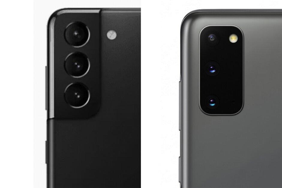 El módulo de la cámara Galaxy S21 se muestra a la izquierda, el módulo de la cámara S20 a la derecha - Samsung Galaxy S21 vs Galaxy S20