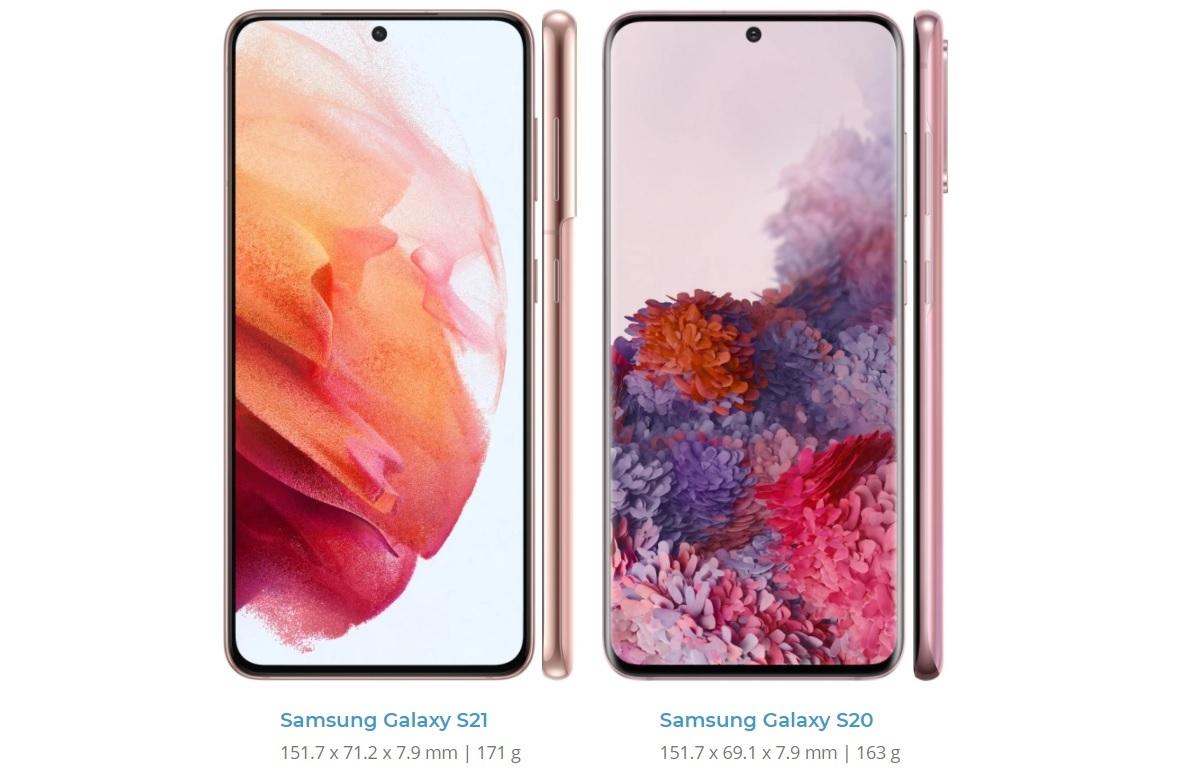 Samsung Galaxy S21 frente a Galaxy S20