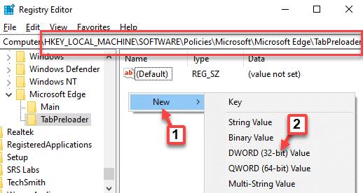 Editor del registro Navegar a la pestaña de ruta Precargador Lado derecho Área vacía Haga clic con el botón derecho en Nuevo valor Dword (32 bits)