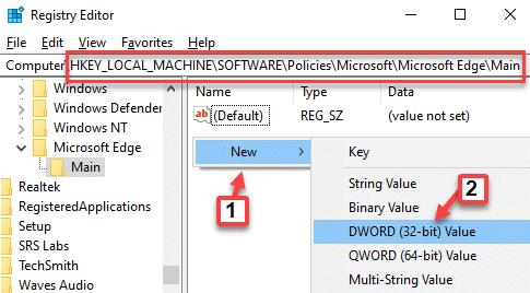 Editor del registro Navegue a la ruta Área vacía del lado derecho Haga clic con el botón derecho en Nuevo valor de Dword (32 bits)