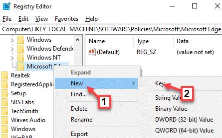 Editor del registro Navegue a la ruta Microsoft Edge Haga clic con el botón derecho en Nueva clave