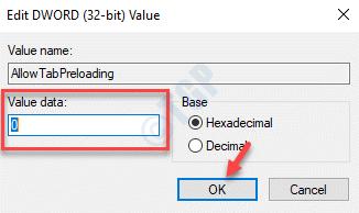 Editar Dword (32 bits) Valor Allowtabpreloading Value Data 0 Ok