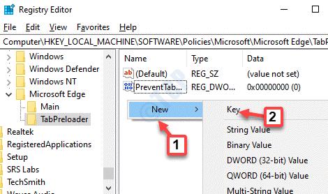 Editor de registro Precargador de pestañas Lado derecho Área vacía Haga clic con el botón derecho en Nueva clave
