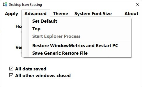 Configuración de espaciado de iconos de escritorio