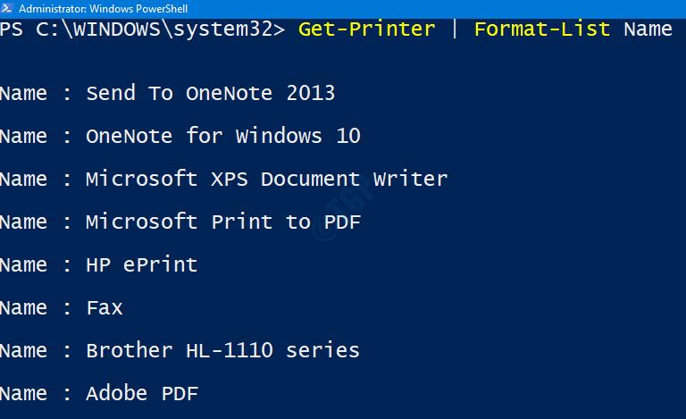 Lista de impresoras en Ps