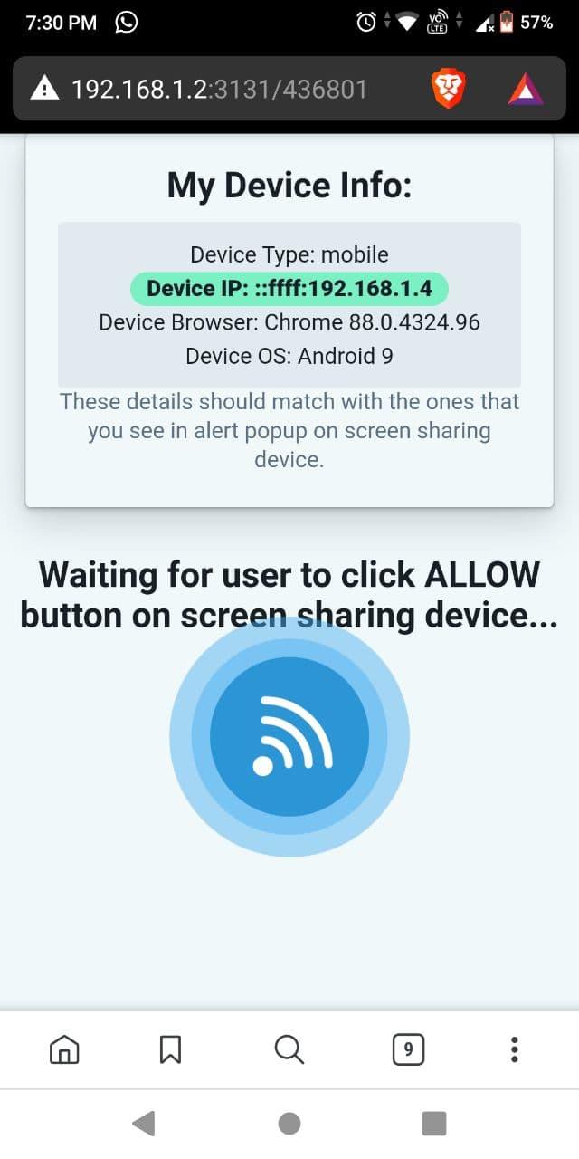 Pestaña del visor de Deskreen Android 2