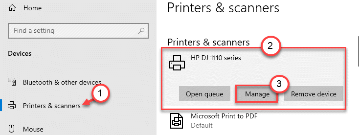 Administrar impresora mínima