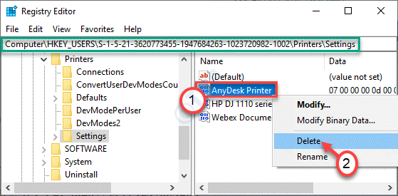 Eliminar configuración de impresora Mín.